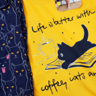 Pijamale Dama Marimi Mari Vienetta Model 'Life is Better with Coffee & Cats'