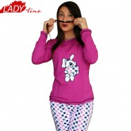 Pijamale Dama Toamna, Model Happy Bunny, Producator Baki Collection, Bumbac 100%, Culoare Fuchsia, Pijamale Dama Maneca si Pantalon Lung