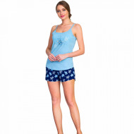 Pijamale Dama Vienetta, 'Beauty & Awesome' Culoare Albastru