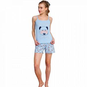 Pijamale Dama Vienetta, Bumbac 100%, 'Do Not Disturb!'