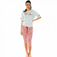 Pijamale Dama Vienetta cu Pantalon 3/4 Model 'Poppin' Gray'