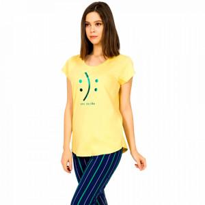 Pijamale Dama Vienetta din Bumbac cu Pantalon 3/4 Model 'Happy or Sad You Decide'