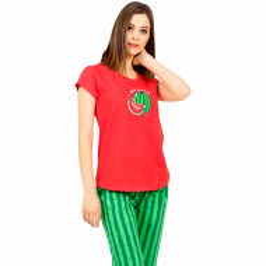 Pijamale Dama Vienetta din Bumbac cu Pantalon 3/4 Model 'Hello Summer' Red