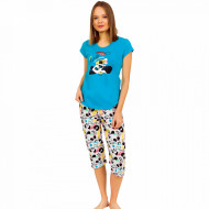 Pijamale Dama Vienetta din Bumbac cu Pantalon 3/4 Model 'Panda's Dream' Blue