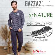 Pijamale din Bumbac Barbati Gazzaz by Vienetta 'in Nature' Gray