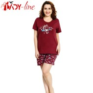 Pijamale Vienetta Secret, Bumbac 100%, 'Faith, Hope, Love' Burgundy