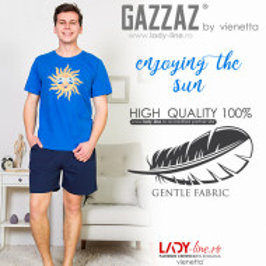 Pijamle Barbati Gazzaz by Vienetta, 'Enjoying the Sun', Culoare Albastru