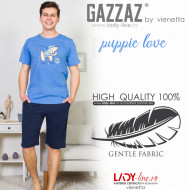 Pijamle Barbati Gazzaz by Vienetta, 'Puppie Love' Blue