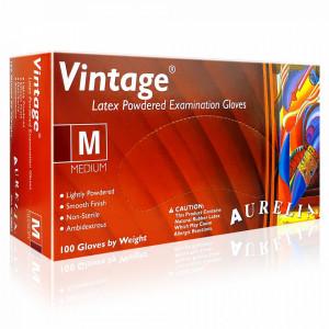 Manusi Latex Examinare Usor Pudrate Natural Alb Aurelia® Vintage® 100 Bucati