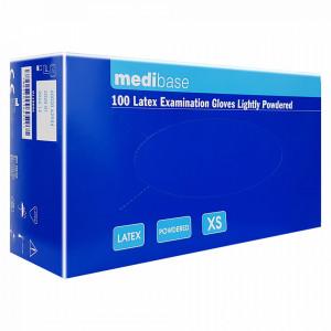 Manusi Examinare Latex Usor Pudrate Natural Alb MediBase® 100 Buc