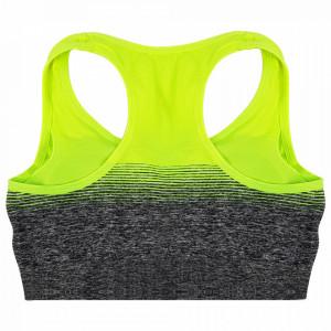 Bustiera Dama Top Sport cu Fermoar in Fata, Model Urban Gaze, Culoare Gri/Verde