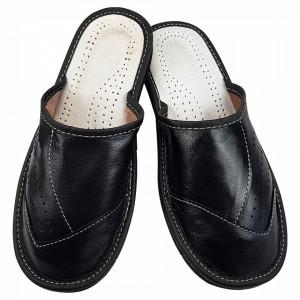 Papuci de Casa Barbati, Sezon Vara, Material Piele, Culoare Negru, Model 'Black Forever'