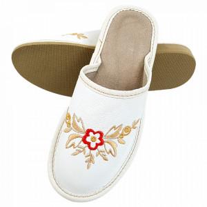 Papuci de Casa Dama din Piele, Sezon Vara, Culoare Alb Model 'Genesis White'