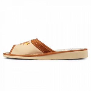 Papuci de Casa Dama din Piele, Sezon Vara, Culoare Crem Model 'Chavala Cream'