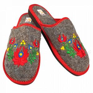 Papuci de Casa Dama din Postav, Model 'Mandale Florale' Culoare Gri