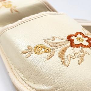 Papuci de Casa Dama, Material Piele, Culoare Crem, Model 'Cappuccino Confort'
