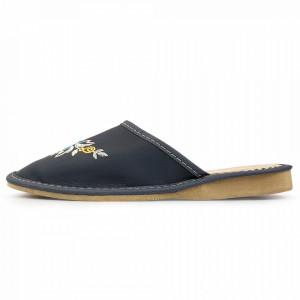 Papuci de Casa Dama, Material Piele, Culoare Gri, Model 'Flowers Wing'