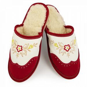 Papuci de Casa din Piele Imblaniti cu Lana de Oaie Model 'London Brogue Inspire' Red