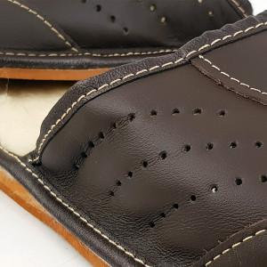 Papuci de Casa din Piele si Lana de Oaie Culoare Maro Model 'Brown Heather'