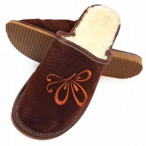 Papuci de Casa din Piele si Lana de Oaie la Interior Culoare Maro Model 'Zbor Liber'