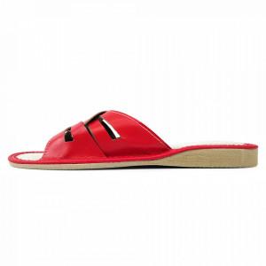 Papuci de Casa Vara din Piele Culoare Rosu Model 'Drusilla'