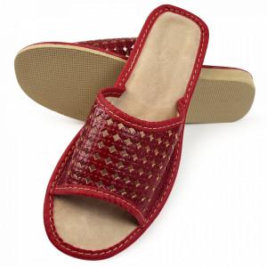 Papuci de Casa Vara din Piele Culoare Visiniu Model 'Mahreen'