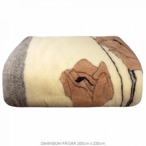 Patura din Lana Natural de Oaie 100% Model 'Mood' Marime 200 x 220, 1 Bucata