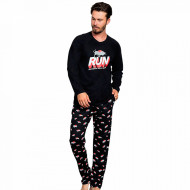 Pijama Barbati Bumbac 100% Gazzaz by Vienetta 'Run Incrase Your Speed' Black