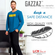 Pijamale Barbati Bumbac 100% Gazzaz by Vienetta 'Keep a Safe Distance' Blue