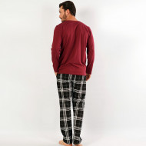 Pijamale Barbati Confortabile din Bumbac Gazzaz by Vienetta Model 'Elegant' Burgundy