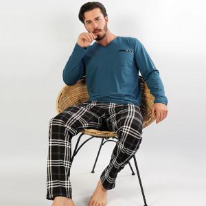 Pijamale Barbati Confortabile din Bumbac Gazzaz by Vienetta Model 'Elegant' Green