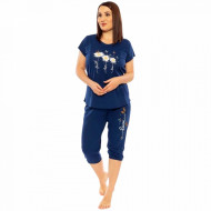 Pijamale Confortabile din Bumbac Marimi Mari Vienetta Model 'Faith Hope Love' Blue