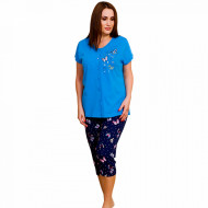 Pijamale cu Nasturi Marimi Mari Vienetta Model 'Stay Cool Butterfly' Blue