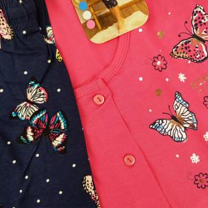 Pijamale cu Nasturi Marimi Mari Vienetta Model 'Stay Cool Butterfly' Pink