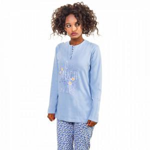 Pijamale Dama Bumbac Natural, Senso, 'Love Much Live Well' Blue