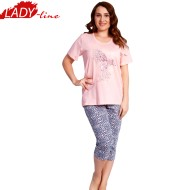 Pijamale Dama cu Maneca Scurta si Pantalon 3/4, Material Bumbac 100%, Model 'Love Is In The Air', Producator Vienetta Secret, Culoare Roz, Pijamale Dama Vara