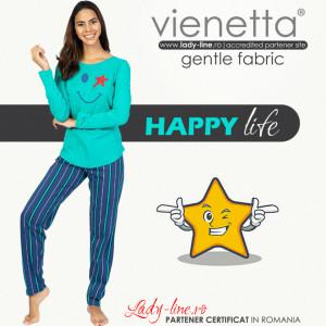 Pijamale Dama din Bumbac 100%  Model 'Happy Life' Green