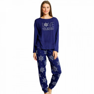 Pijamale Dama din Bumbac 100% Vienetta Model 'Love Yourself' Blue
