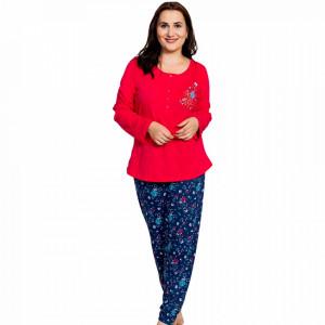 Pijamale Dama din Bumbac Marimi Mari Vienetta Model 'Sweet Home' Red