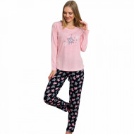 Pijamale Dama din Bumbac Vienetta Model 'Turtley Awesome' Pink