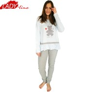 Pijamale Dama Maneca Lunga, Model Cool Little Bear, Brand Italian Fashion Design, Material Bumbac 100% Interlock, Culoare Albastru/Gri, Pijamale Dama Calitate 100%