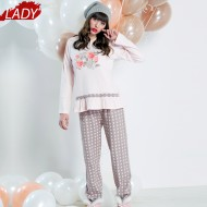 Pijamale Dama Maneca Lunga, Model La Vie en Rose, Brand Italian Fashion Design, Material Bumbac 100% Interlock, Culoare Roz/Gri, Pijamale Dama Calitate 100%