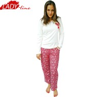 Pijamale Dama Maneca Lunga, Model Love & Flowers, Producator Fawn, Material Bumbac 100% Interlock, Culoare Alb/Fuchsia, Pijamale Dama De Calitate