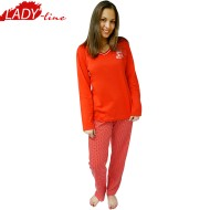 Pijamale Dama Maneca Lunga, Model Red Perfume, Producator Vogue In, Bumbac 100%, Culoare Rosu, Pijamale Dama Bumbac