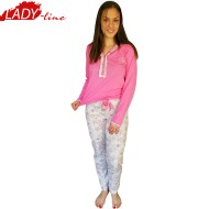 Pijamale Dama Maneca Lunga si Pantalon Lung, Material Bumbac 100%, Model 'Sweet Dreams', Brand Senso, Culoare Roz, Pijamale Import Italia