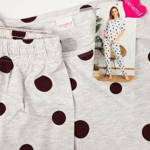 Pijamale Dama Maneca Scurta Pantalon Lung Vienetta Model 'Happy Dots'