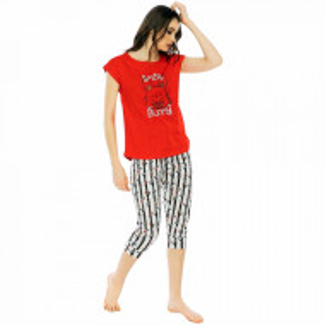 Pijamale Dama Manesca Scurta Pantalon 3/4 Vienetta Model 'Small Bunny'