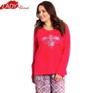 Pijamale Dama Marimi Mari, Model Nina Symmetry Perfection, Producator Vienetta, Bumbac 100%, Culoare Rosu, Pijamale XXXL