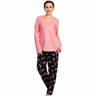 Pijamale Dama Marimi Mari Vienetta Bumbac 100% 'Feel Good' Pink