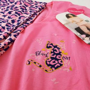 Pijamale Dama Vienetta, 'Charme Black Cat' Pink